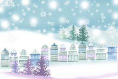 Peaceful Christmas landscape of the city - Graphic painting texture Royalty Free Stock Photo