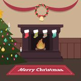 Peaceful Christmas scene with fireplace and stockings. Peaceful Christmas indoor scene with fireplace and stockings Royalty Free Stock Photography