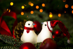 Peaceful Christmas. Two white doves in Christmas environment Stock Photography