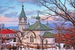 The peaceful church in winter season at. If you want to go somewhere that so beautiful and peaceful, this church may be your choice Stock Photos
