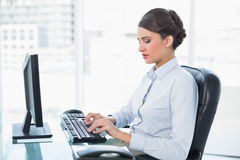 Peaceful classy brown haired businesswoman typing on a computer Stock Image