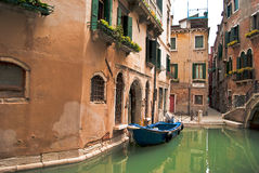 Peaceful corner in Venice. A peaceful place in Venice,without tourists around and with the water so calm Royalty Free Stock Image