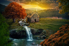 Peaceful cottage. Beautiful nature scene with cottage in the mountains near a stream stock image