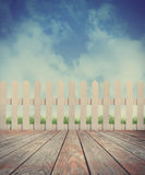Peaceful Country Wood Fence and Sky Background Royalty Free Stock Photos