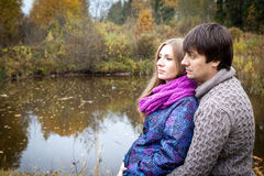 Peaceful couple of future parents Royalty Free Stock Images