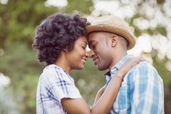 Peaceful couple standing nose to nose Stock Image