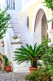 Peaceful courtyard in Panormitis Monastery on the island of Symi, Greece Stock Photography