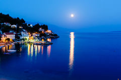 Peaceful Croatian Village and Adriatic Bay Stock Photo