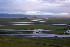 Peaceful curve - the Yellow River. The first turn of the Yellow River at dusk Stock Image