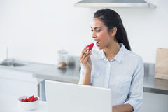 Peaceful dark haired woman eating strawberry Stock Photos