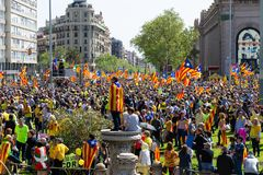 Peaceful demonstration in Catalonia for freedom Royalty Free Stock Photo
