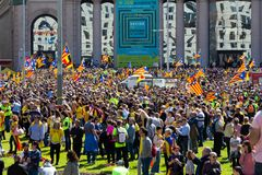 Peaceful demonstration in Catalonia for freedom Stock Photo