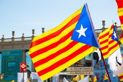 Peaceful demonstration in Catalonia for freedom Royalty Free Stock Image