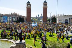 Peaceful demonstration in Catalonia for freedom Stock Photography