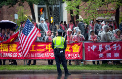A peaceful demonstration of Chinese activists in Washington Royalty Free Stock Images
