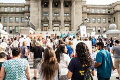 A peaceful demonstration. Has taken place in front of Idaho State Capitol building Royalty Free Stock Photo