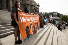 A peaceful demonstration. Has taken place in front of Idaho State Capitol building Stock Photos