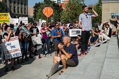 A peaceful demonstration. Has taken place in front of Idaho State Capitol building Stock Image