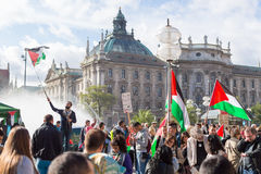 Peaceful demonstration for stopping Israel-Palestine conflict Royalty Free Stock Photo