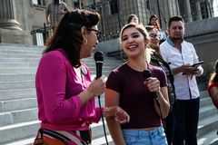 Dreamers peaceful demonstration. A peaceful demonstration was held in front of Idaho Capitol State Building Stock Photo