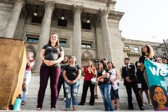 Dreamers peaceful demonstration. A peaceful demonstration was held in front of Idaho Capitol State Building Royalty Free Stock Photography