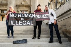Dreamers peaceful demonstration. A peaceful demonstration was held in front of Idaho Capitol State Building Stock Photos
