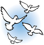 Peaceful Doves Flying. An illustration of four doves flying in the sky Royalty Free Stock Photography