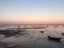 Peaceful Dusk on Le Canon Oyster Village, Cap-Ferret Peninsula, Bassin d'Arcachon, Gironde, South West France Royalty Free Stock Photo