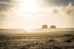 Twin Rocks at Rockaway Beach royalty free stock images