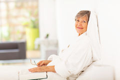Peaceful elderly woman Royalty Free Stock Photos