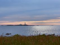 Peaceful evening. Evening by Feistein Lighthouse, Rogaland, Norway (North Sea Stock Photo