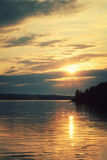 Peaceful evening at Kenozero lake Beautiful sunset Stock Images