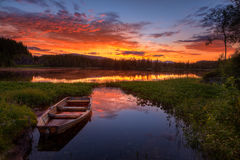 Peaceful evening. Photo from the north of Norway taken at sunrise stock photo