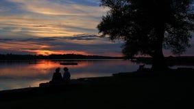 Peaceful evening scene at Lake Pfaffikersee. Summer evening in Auslikon. Sunset at Lake Pfaeffikersee royalty free stock photography