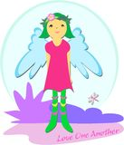 Peaceful Fairy says Love One Another Stock Photography