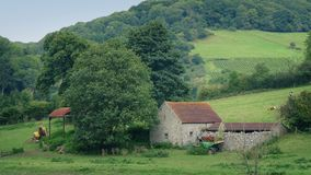 Peaceful farm scene with barn and cows. Rural scene of old farm building and agricultural machines with cows on the hillside stock video footage