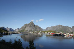 The peaceful fjord and village  of Reine Stock Photo