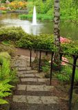 Peaceful garden pond Stock Photos