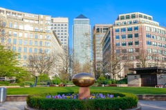 Peaceful garden at Westferry Circus in Canary Wharf Stock Images