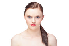 Peaceful gorgeous model with ponytail posing Royalty Free Stock Image