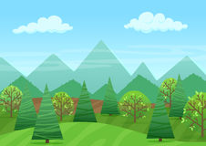 The peaceful green landscape with mountains and plants vector illustration. The peaceful green landscape with mountains and plants vector illustration Stock Photo