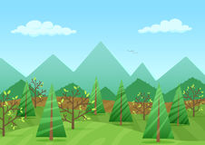 The peaceful green landscape with mountains and plants vector illustration. Royalty Free Stock Photography