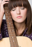 Peaceful Guitar Woman Stock Photos