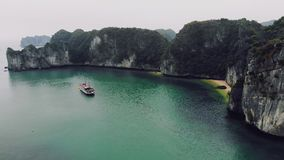 Peaceful Halong Bay. Top view of Halong Bay Vietnam. Beautiful seascape with rocks and sea. Exotic nature of Southeast stock video