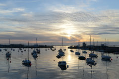 Peaceful harbor at Howth. Sunset on the peaceful harbor at Howth (Dublin bay area - Ireland Royalty Free Stock Images