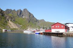 The peaceful harbour of Ballstadland Royalty Free Stock Photo