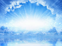 Peaceful heavenly background - light from heaven. Bright sunlight with reflection in sea Royalty Free Stock Image