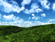 Peaceful hills. Illustration of green hills and sunny sky stock images