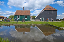 Peaceful Holland Countryside. Magic reflections at Zaanse Schans. The Netherlands. Peaceful countryside on a sunny day Royalty Free Stock Photo