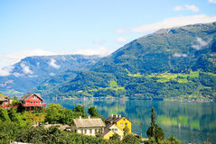 The peaceful houses. At the Norway lake Stock Photo